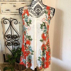 Anthropologie orange floral print tunic tank top